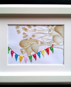 squirrels on bunting
