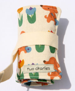 puppies and tulips crayon roll