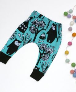 Funky organic slim Harem baby pants featuring bears
