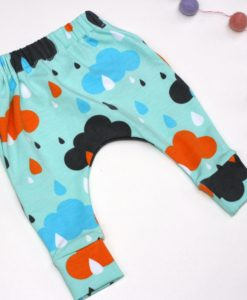 Handmade organic slim Harem baby pants with rainclouds